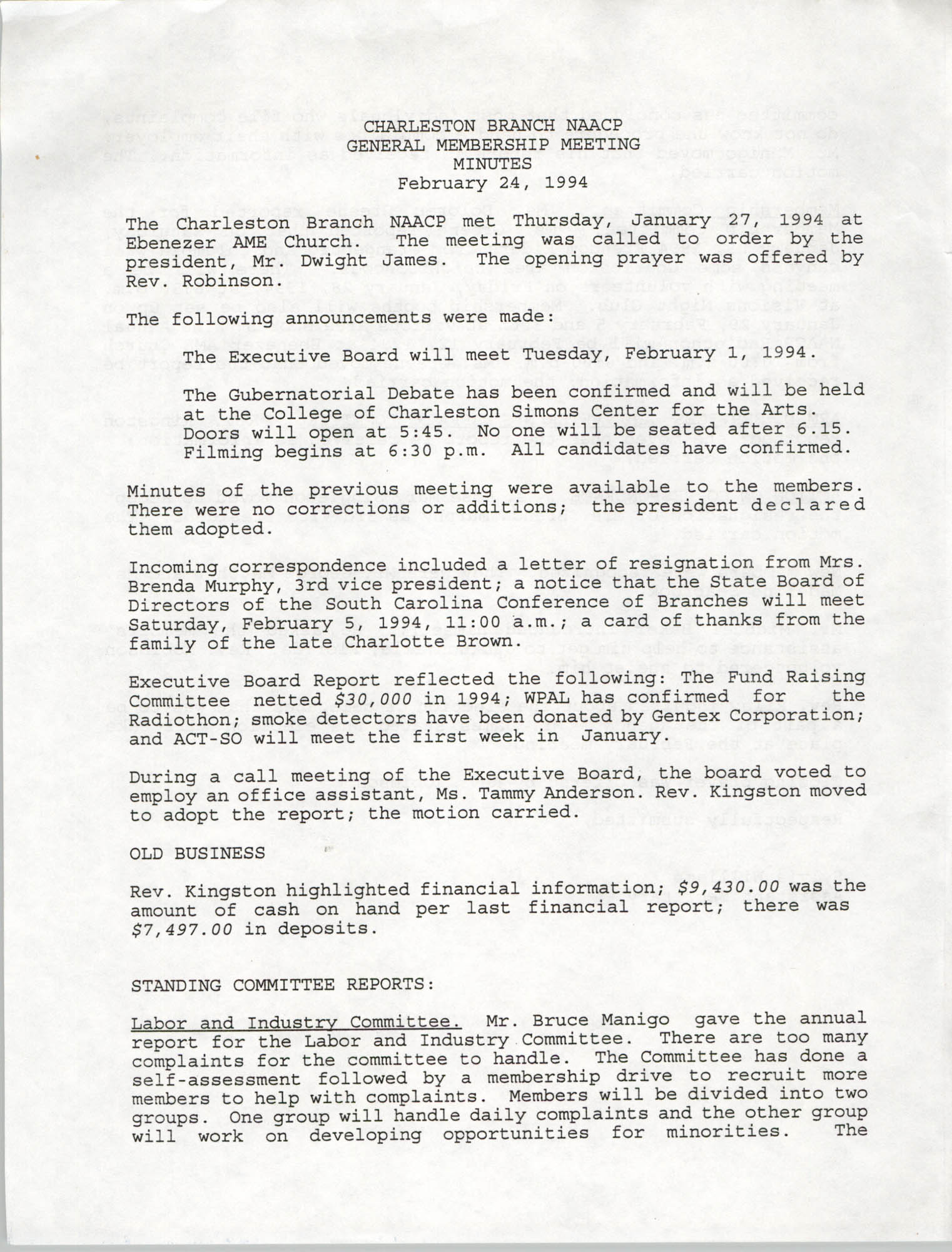 Minutes, Charleston Branch of the NAACP General Membership Meeting, February 24, 1994