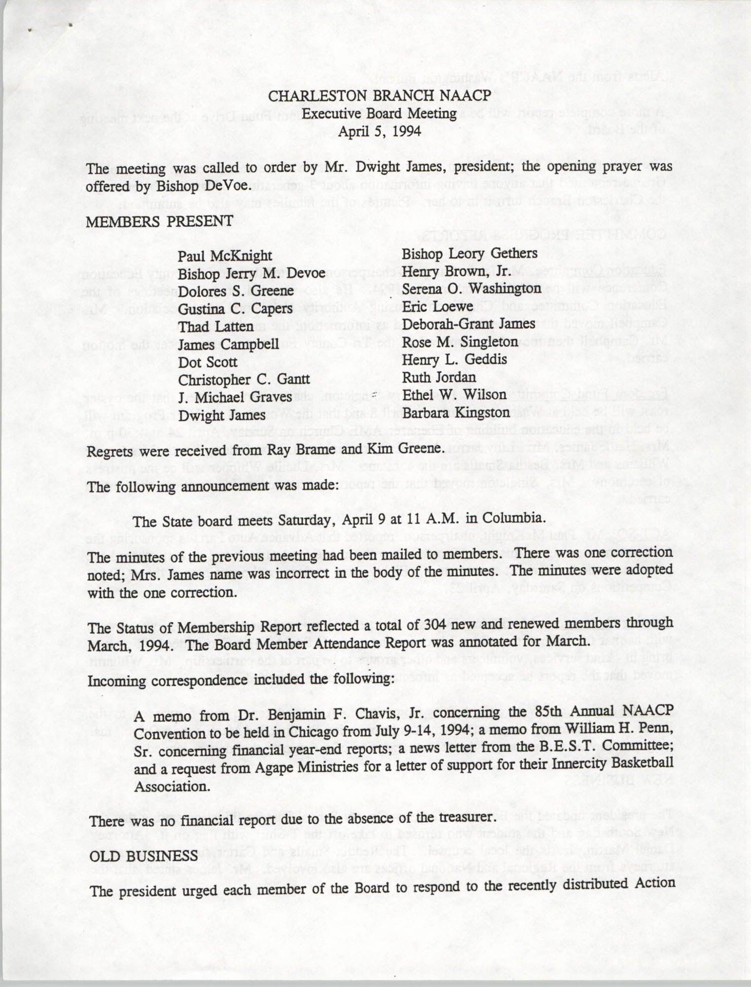Minutes, Charleston Branch of the NAACP Executive Board Meeting, April 5, 1994