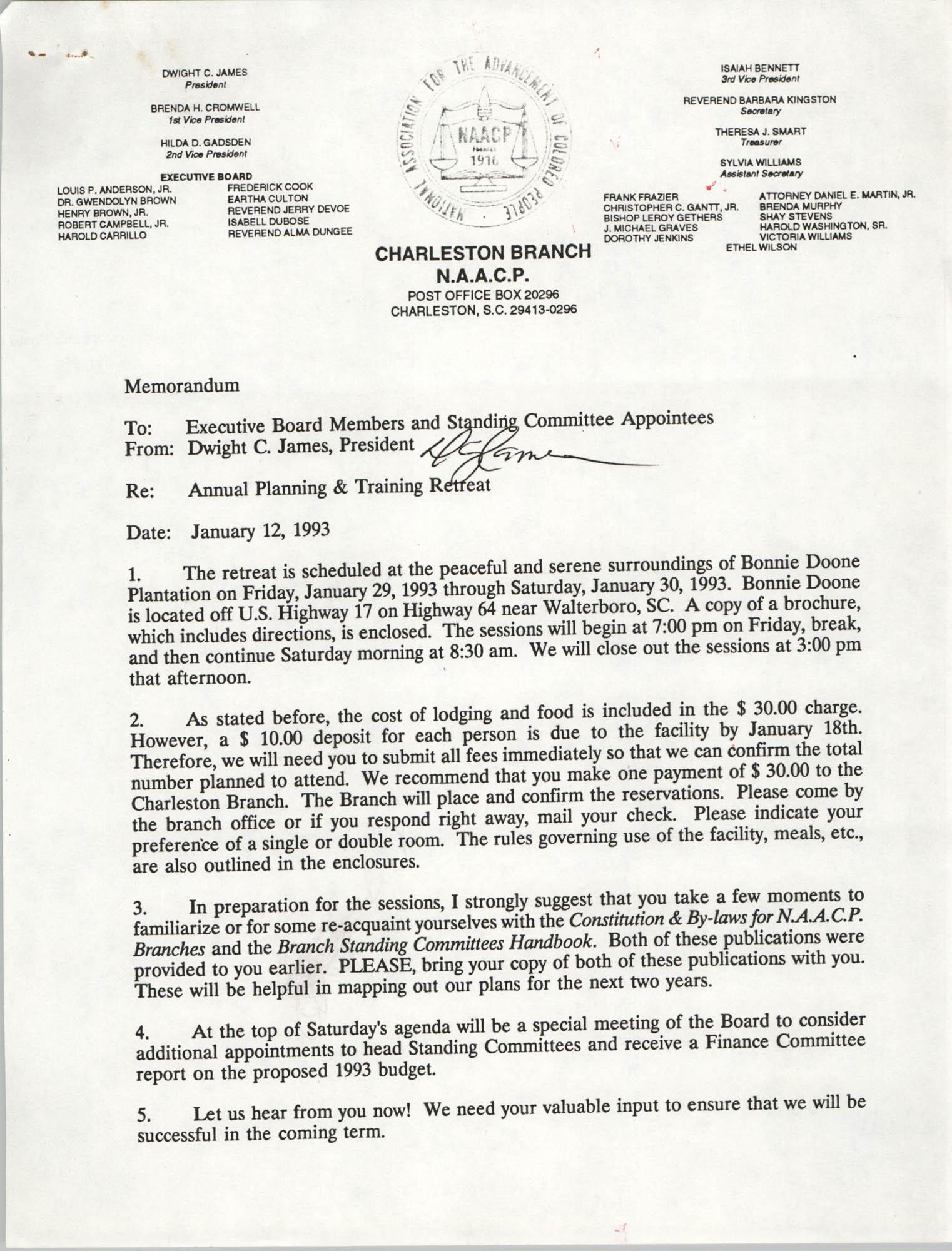 Charleston Branch of the NAACP Memorandum, January 12, 1993