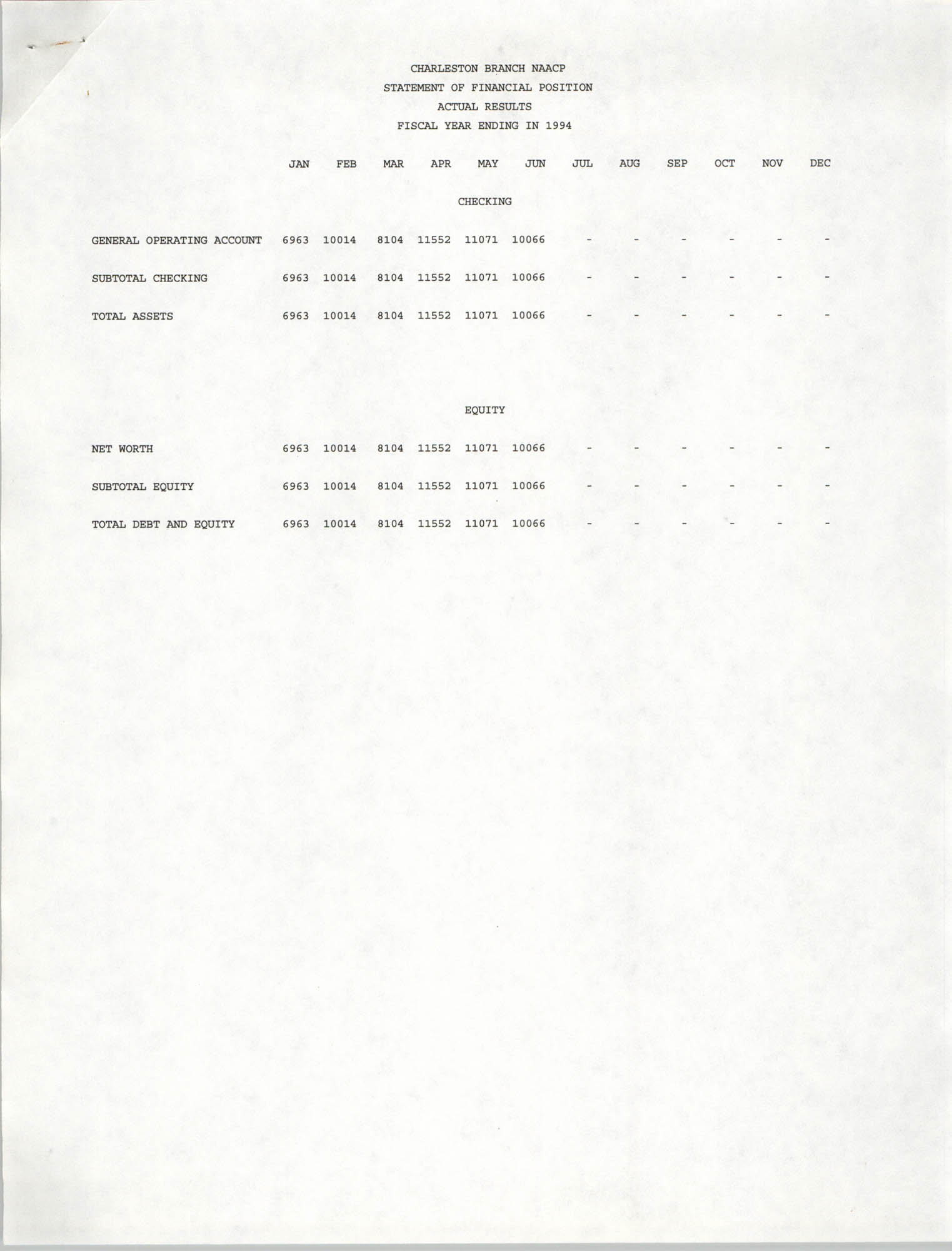 Charleston Branch of the NAACP Statement of Financial Position, 1994