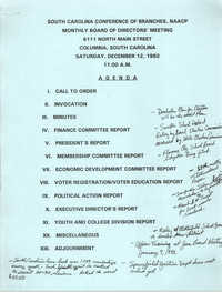 Agenda, South Carolina Conference of Branches of the NAACP, December 12, 1992