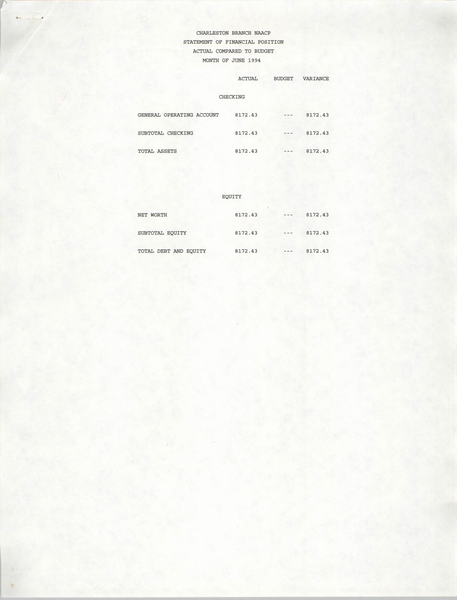 Charleston Branch of the NAACP Statement of Financial Position, June 1994