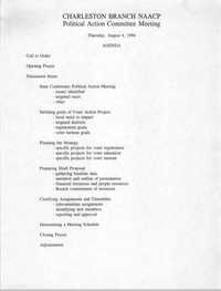 Agenda, Charleston Branch of the NAACP, Political Action Committee Meeting, August 4, 1994