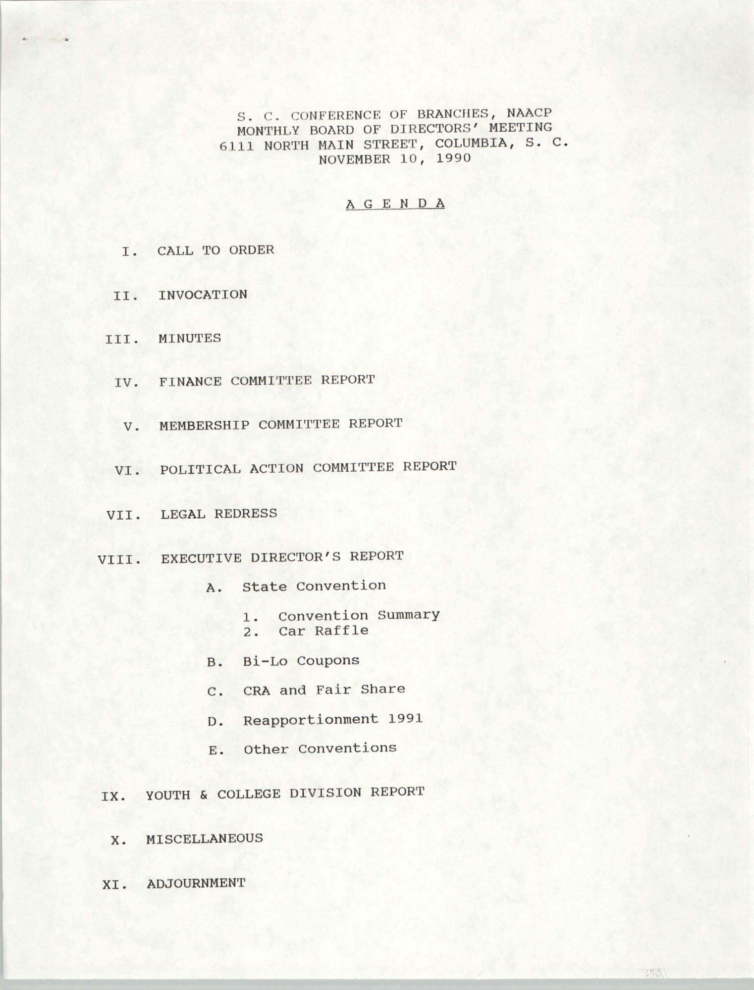 Agenda, South Carolina Conference of Branches of the NAACP, November 10, 1990