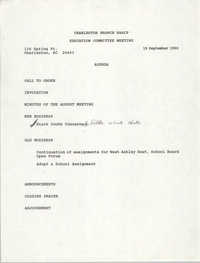Charleston Branch of the NAACP Education Committee Agenda, September 19, 1990