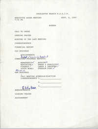 Agenda, Charleston Branch of the NAACP, Executive Board Meeting, September 4, 1990