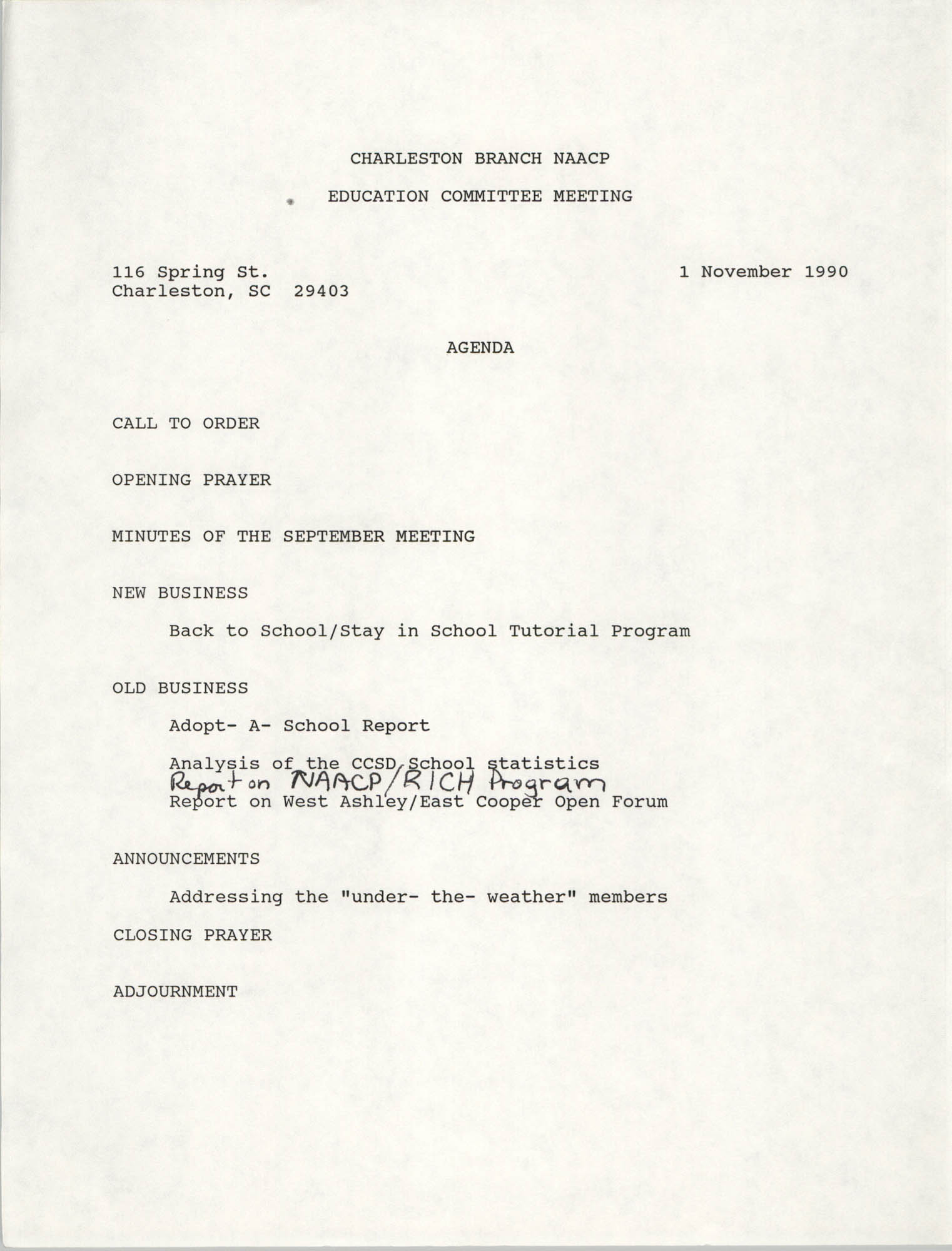 Charleston Branch of the NAACP Education Committee Agenda, November 1, 1990