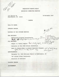 Charleston Branch of the NAACP Education Committee Agenda, November 29, 1990
