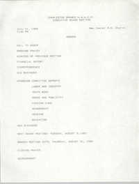 Agenda, Charleston Branch of the NAACP, Executive Board Meeting, July 11, 1989
