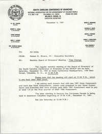 South Carolina Conference of Branches of the NAACP Memorandum, December 4, 1987