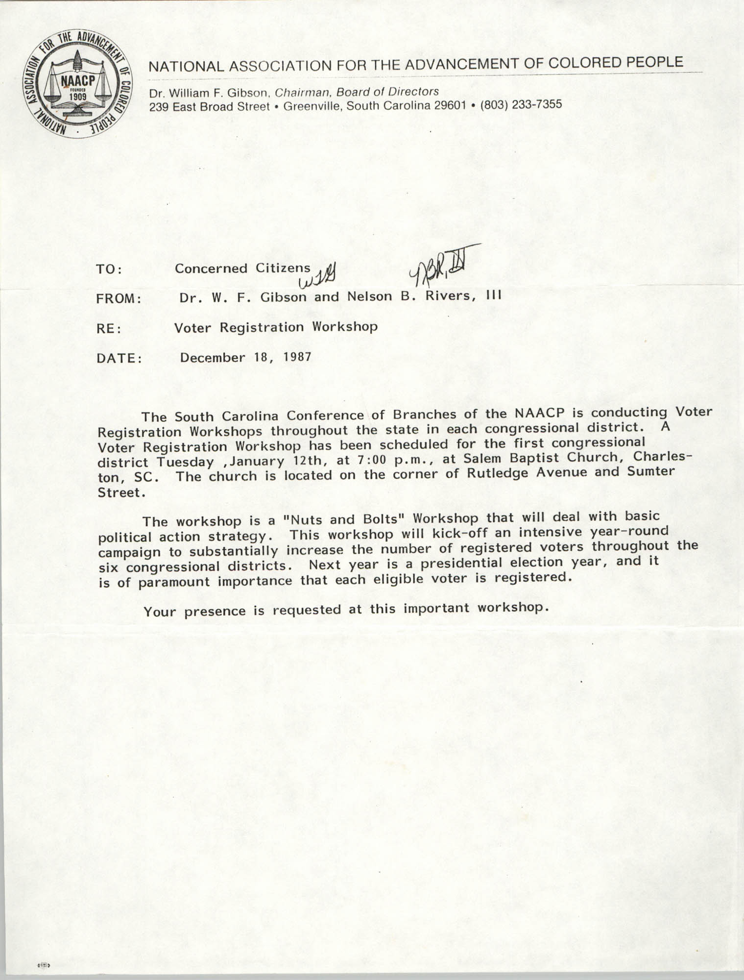 South Carolina Conference of Branches of the NAACP Memorandum, December 18, 1987