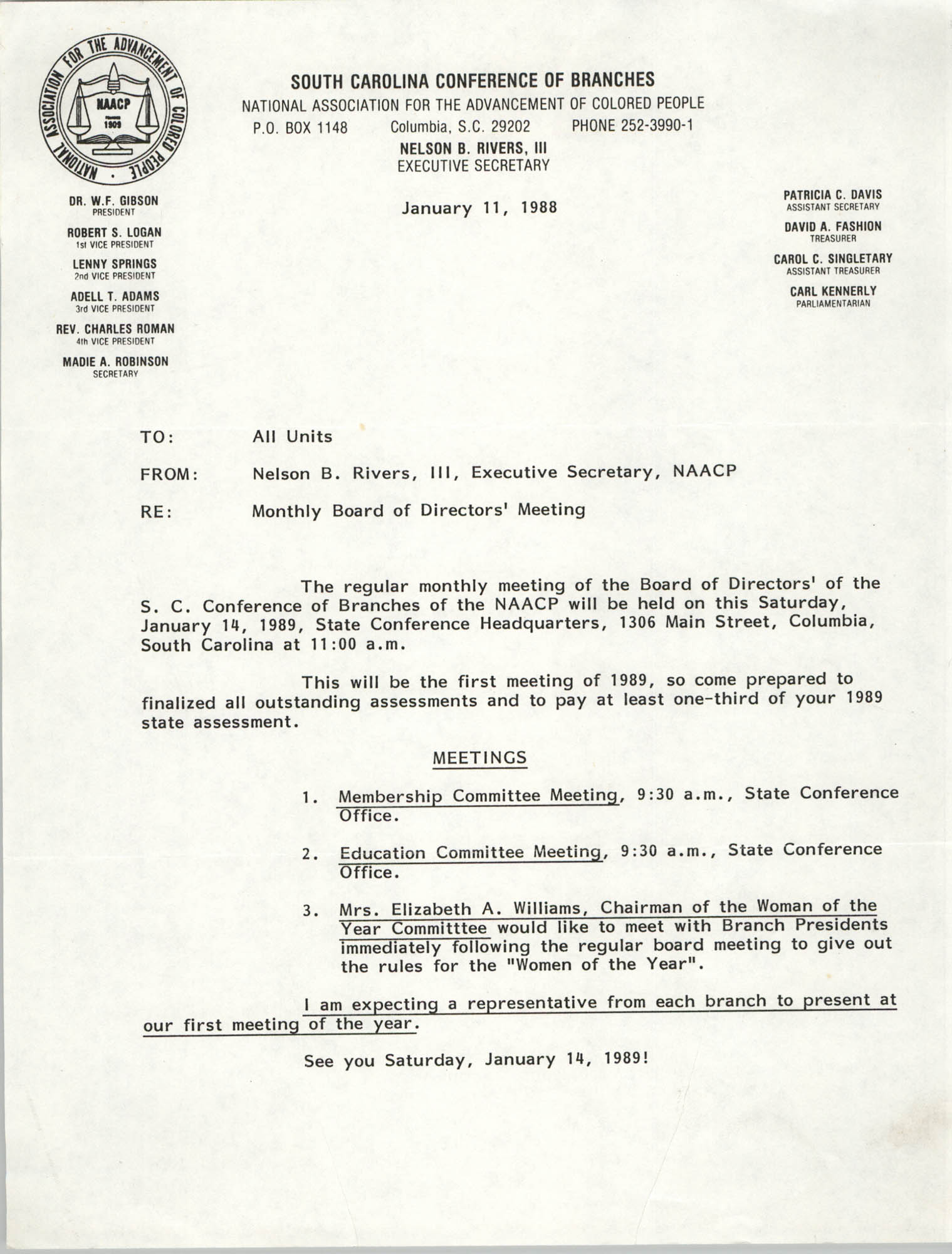 South Carolina Conference of Branches of the NAACP Memorandum, January 11, 1988