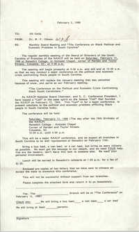 South Carolina Conference of Branches of the NAACP Memorandum, February 2, 1988