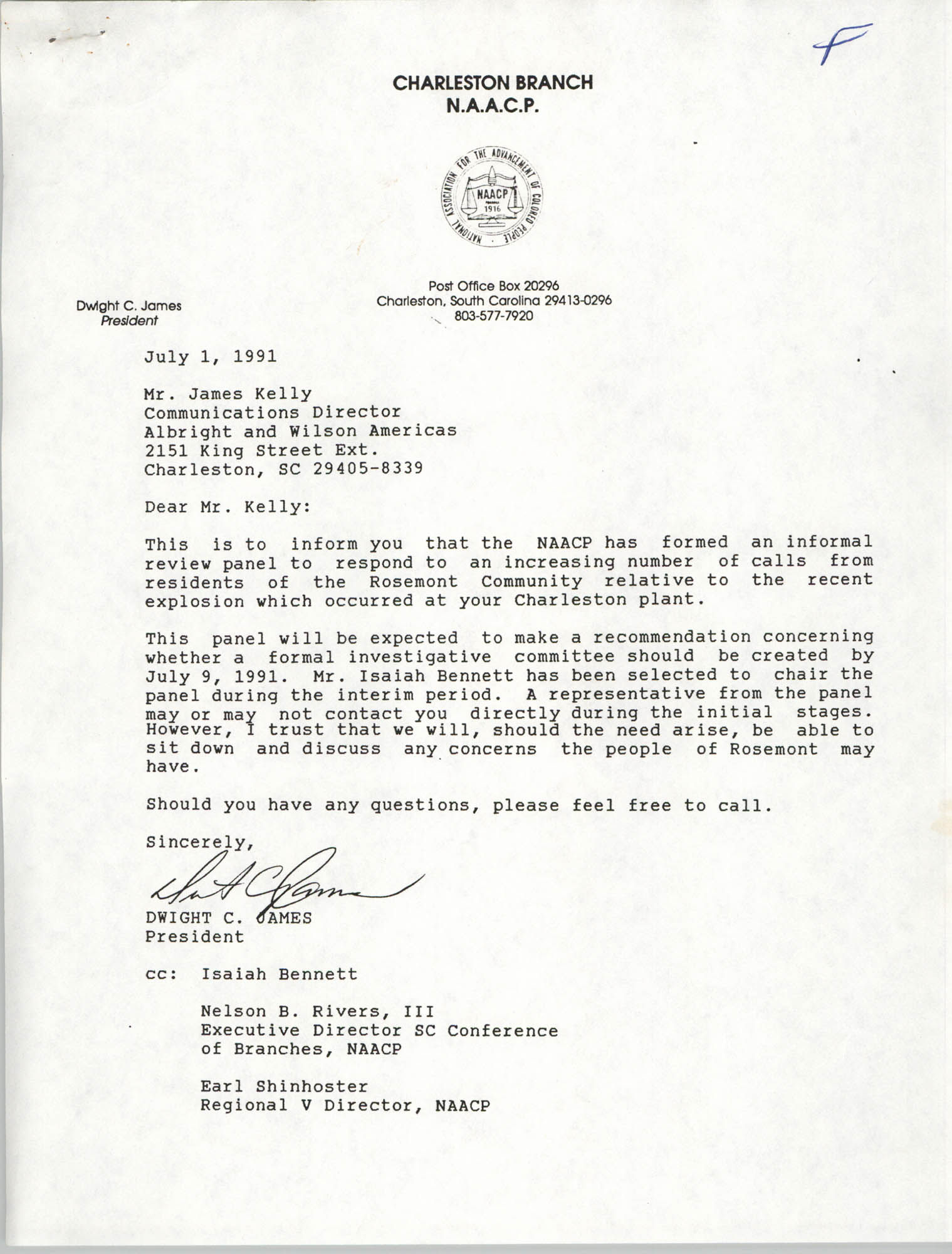 Letter from Dwight C. James to James Kelly, July 1, 1991
