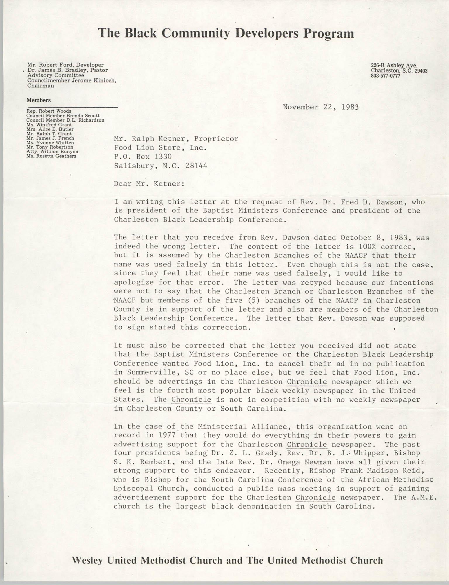Letter from Robert Ford to Ralph Ketner, November 22, 1983
