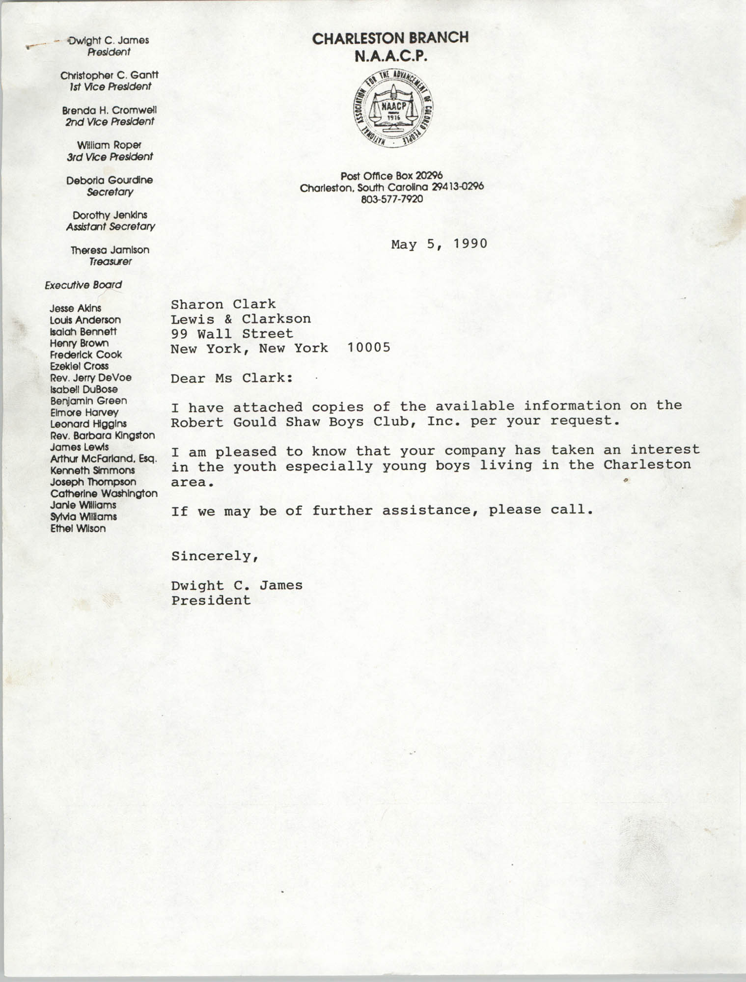 Letter from Dwight C. James to Sharon Clark, May 5, 1990