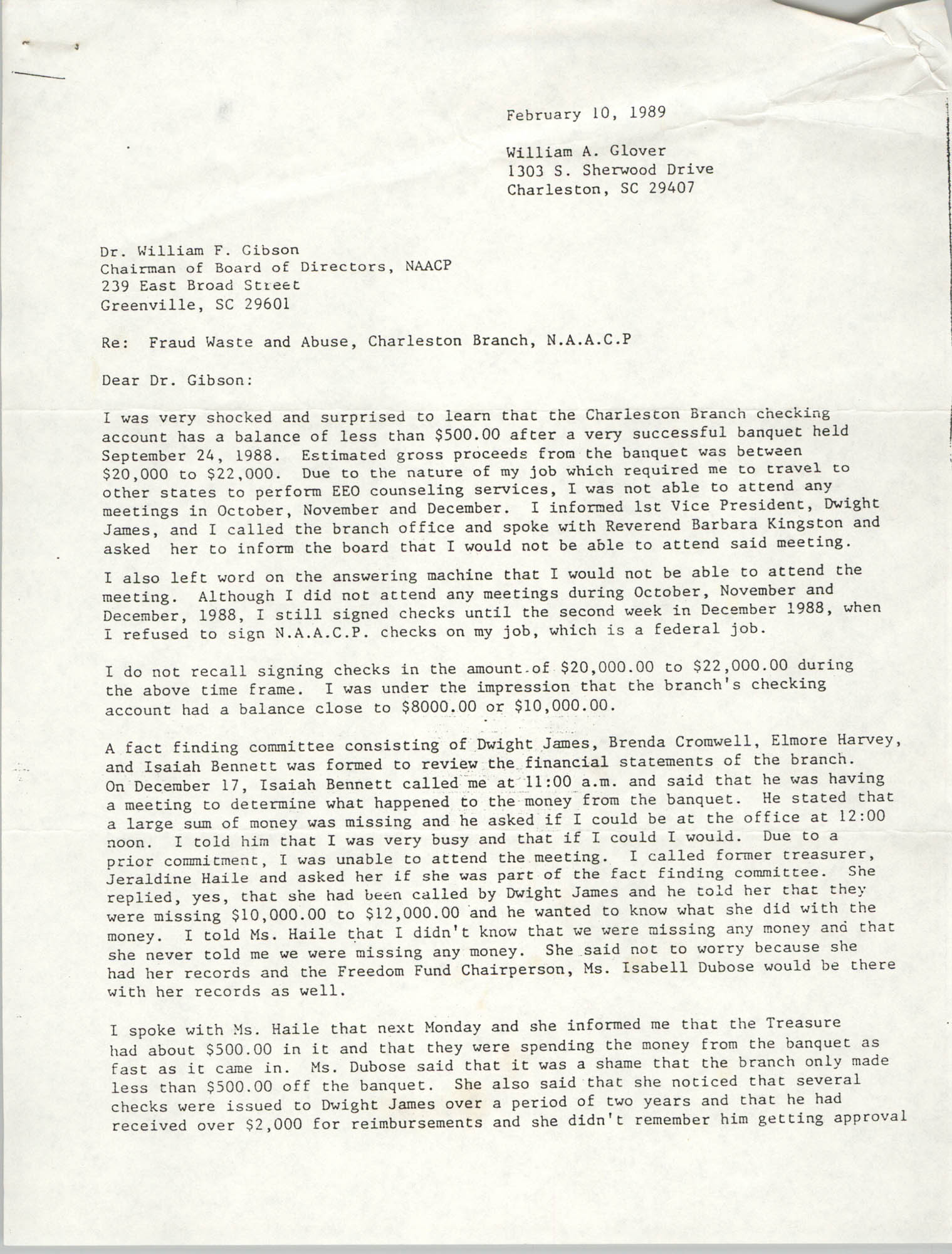 Letter from William A. Glover to William F. Gibson, February 10, 1989