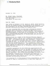 Letter from Ed J. Lieg to Dwight James, October 14, 1991