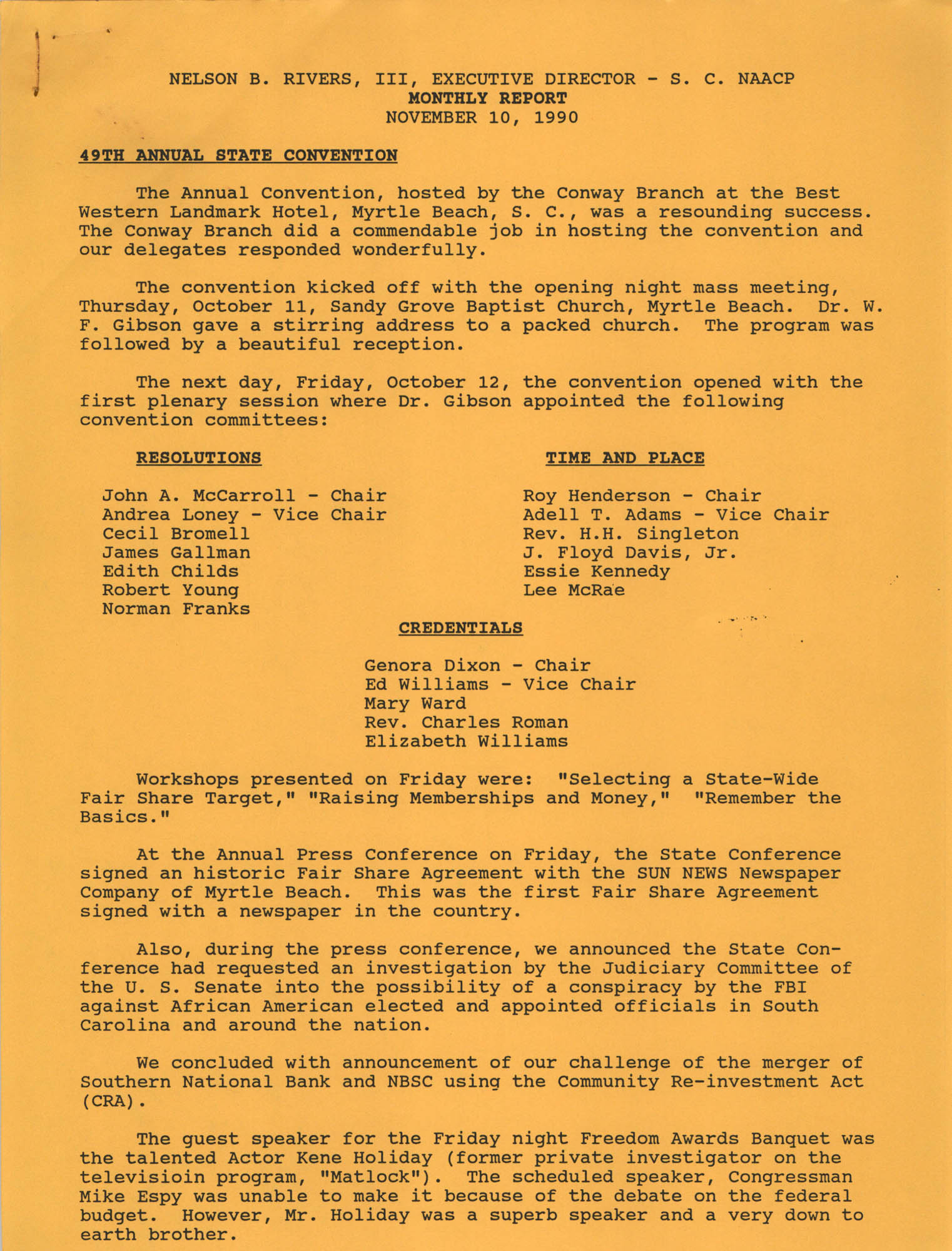 South Carolina Conference of Branches of the NAACP Monthly Report, November 10, 1990