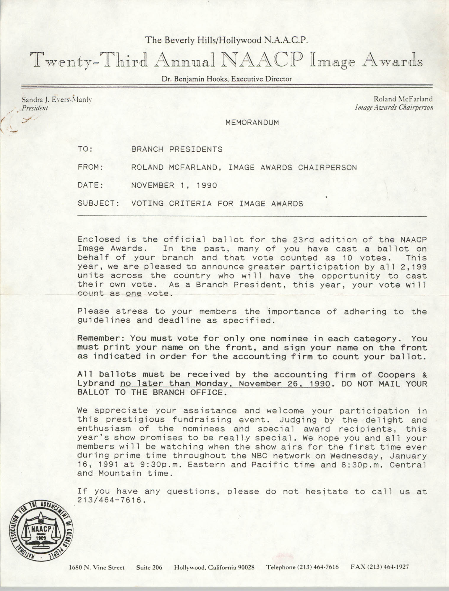 NAACP Memorandum, November 1, 1990