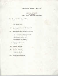 Meeting Outline to Present Omni Hotel Employee Concerns, Charleston Branch of the NAACP, October 16, 1990