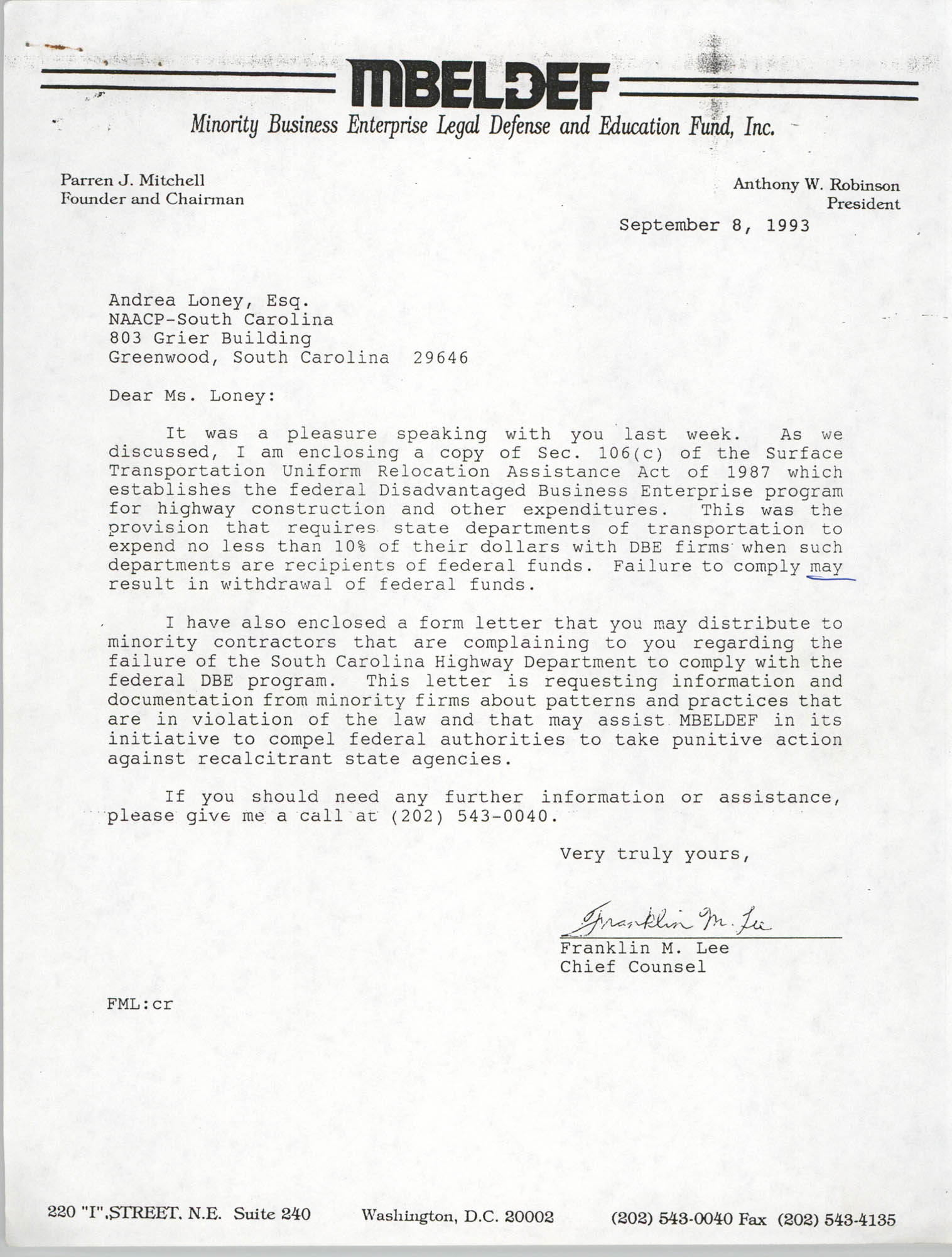 Letter from Franklin M. Lee to Andrea Loney, September 8, 1993