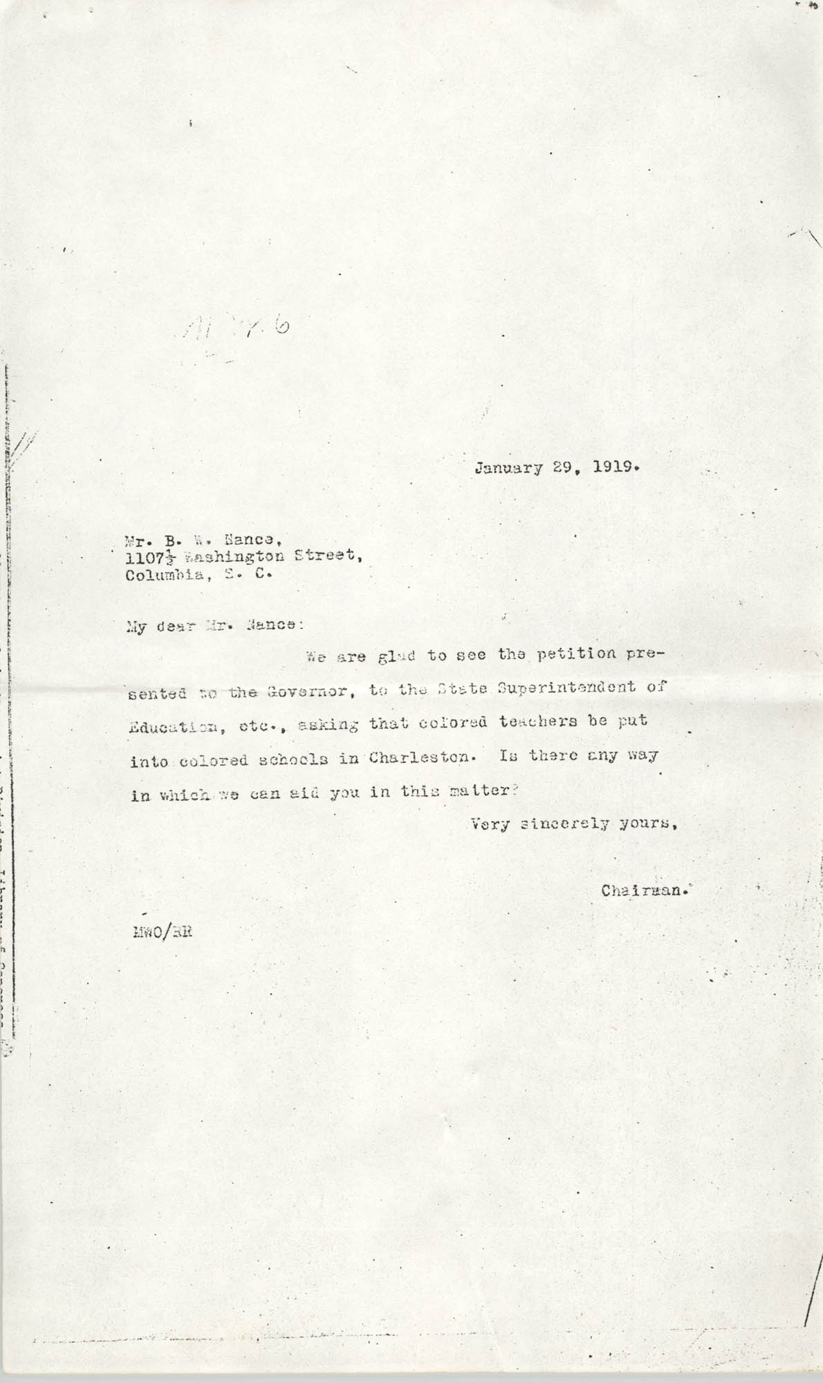 Letter to Butler W. Nance, January 29, 1919