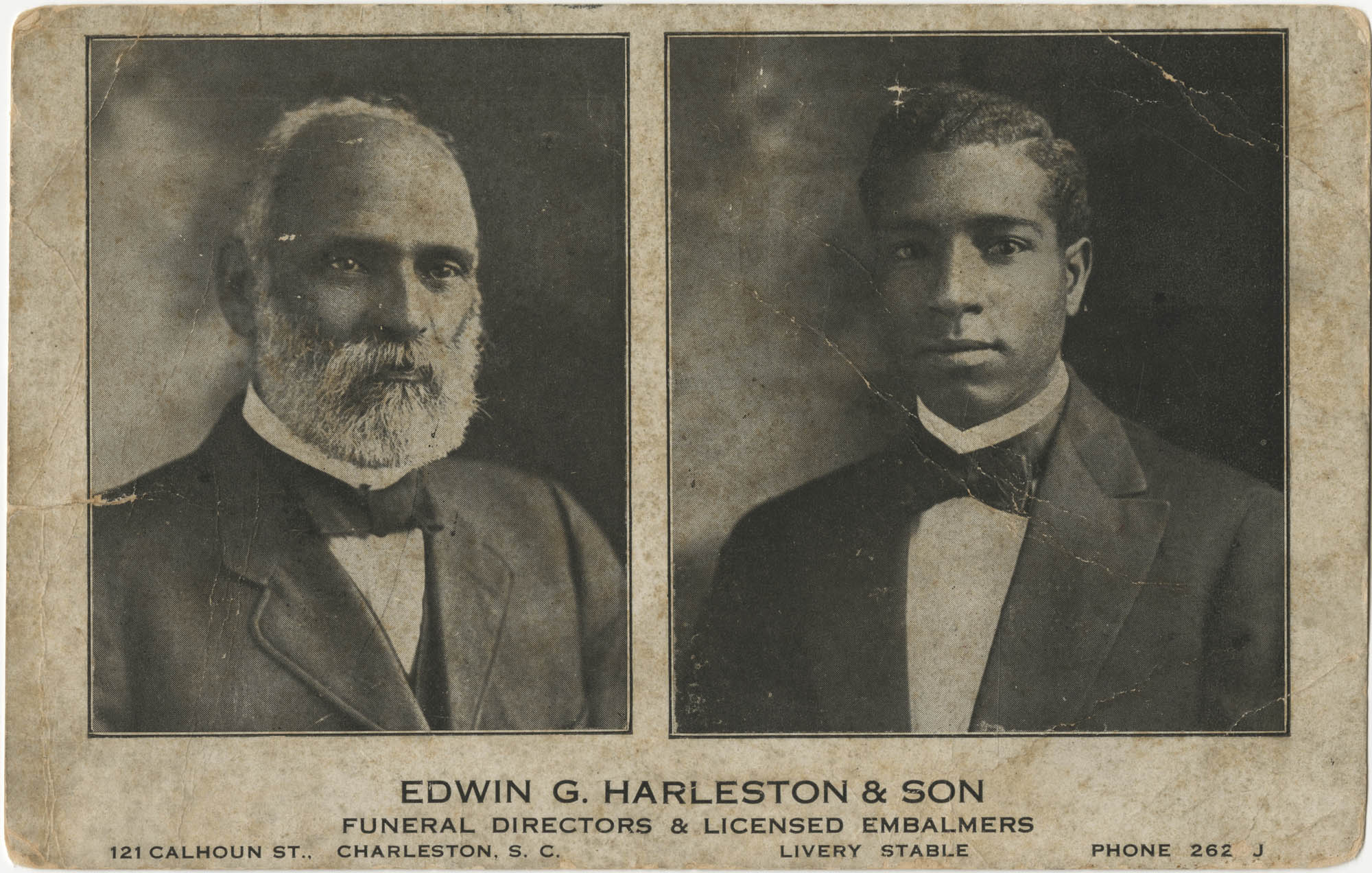 Postcard, Edwin G. Harleston and Son, Funeral Directors and Licensed Embalmers