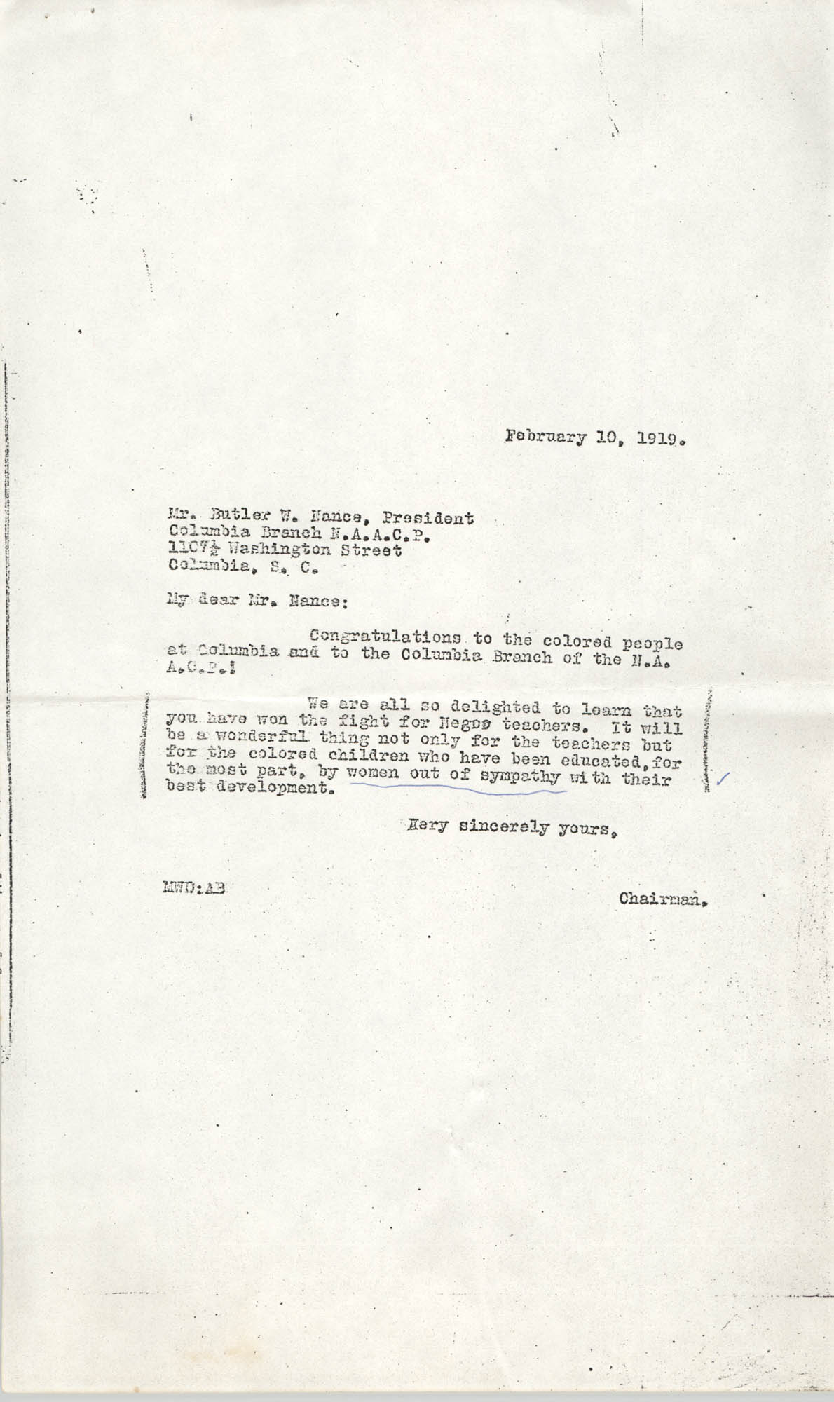 Letter to Butler W. Nance, February 10, 1919