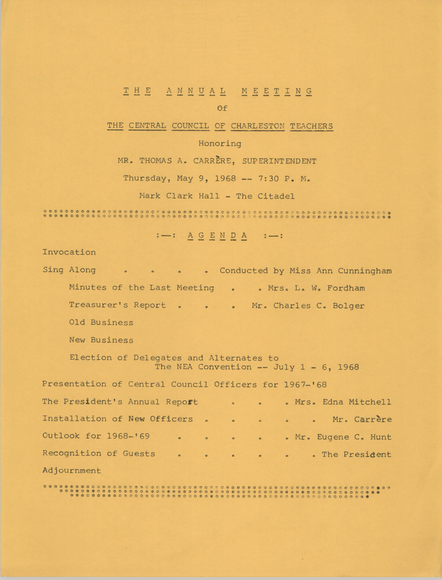 The Annual Meeting of The Central Council of Charleston Teachers, May 9, 1968