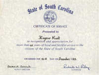 State of South Carolina Certificate of Service, Eugene Hunt