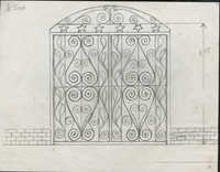 Unidentified gate with star top border below scroll design and scrolled hearts with leaf designs