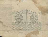 Unidentified gate with S and J scrolls on top, centerpieces with J scrolls above S scroll border