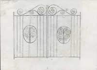 Unidentified gate with center scrolled Palmettos and scrolled top