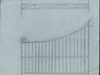 Unidentified gate with scroll on top