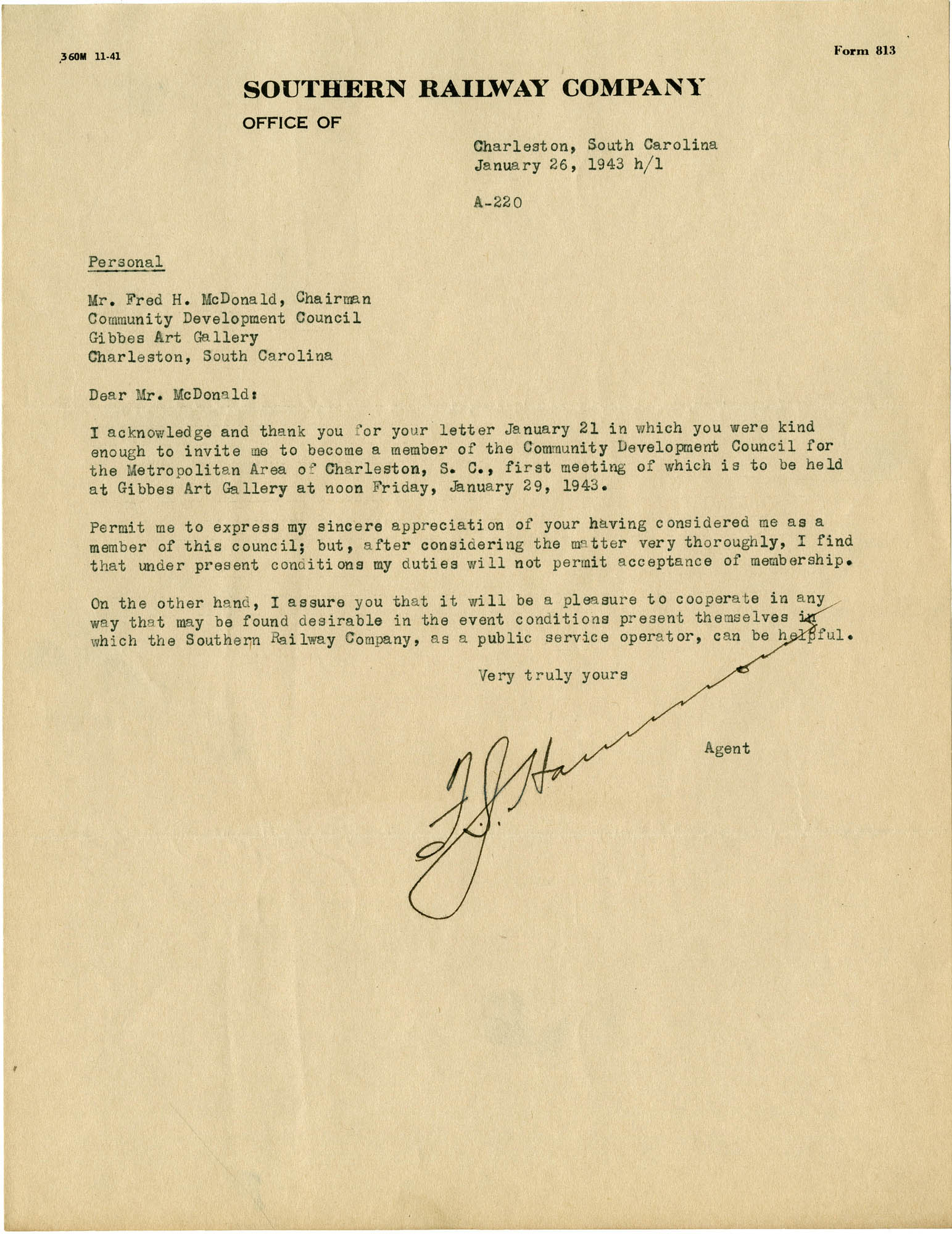 Folder 32: Hammond Letter