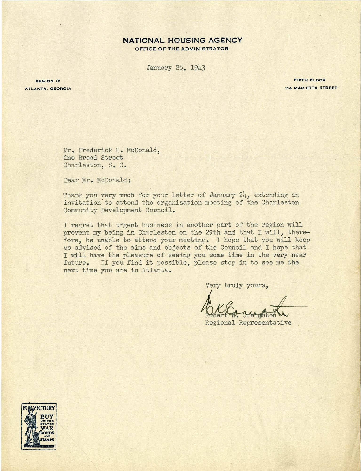 Folder 32: Creighton Letter