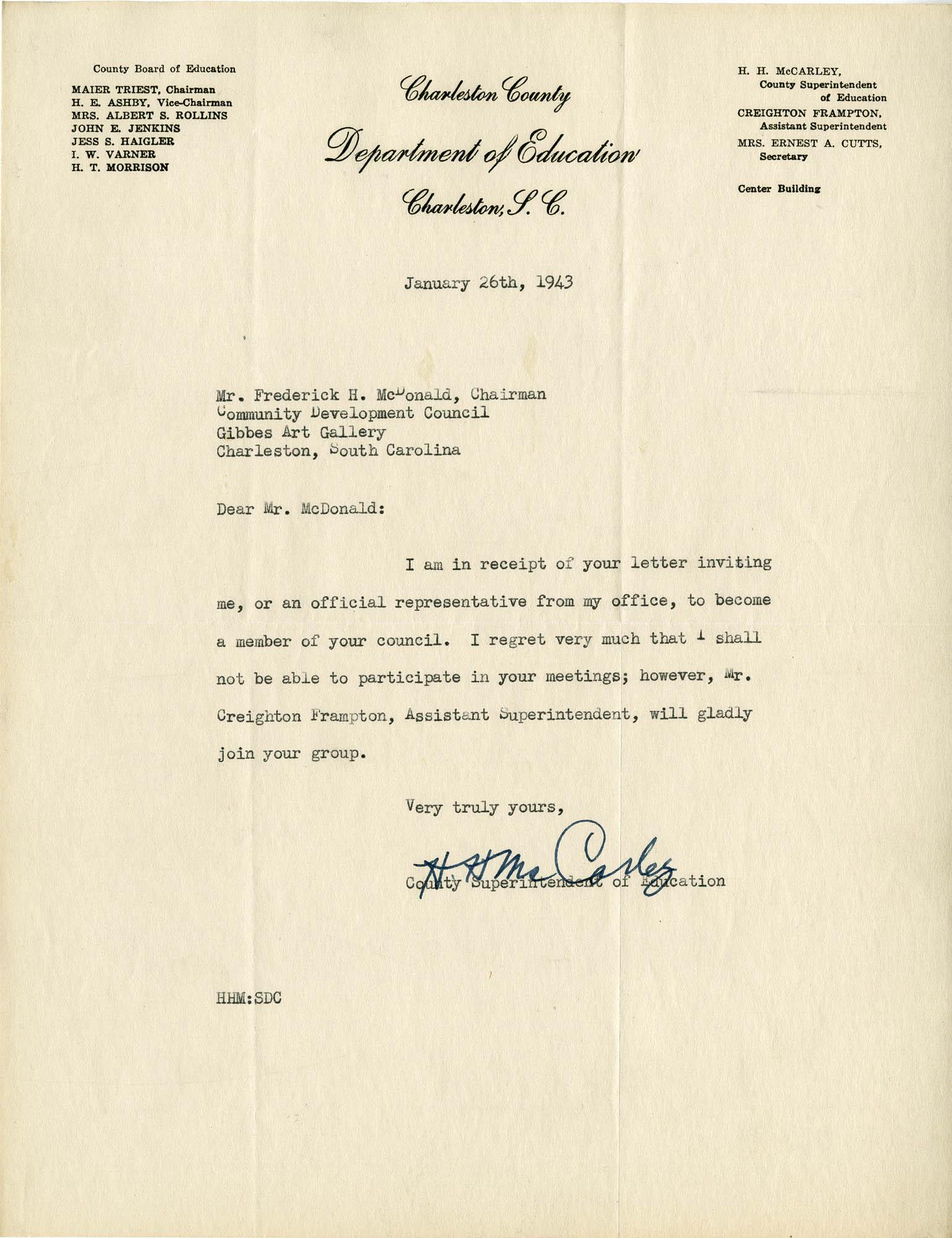 Folder 32: McCarley Letter