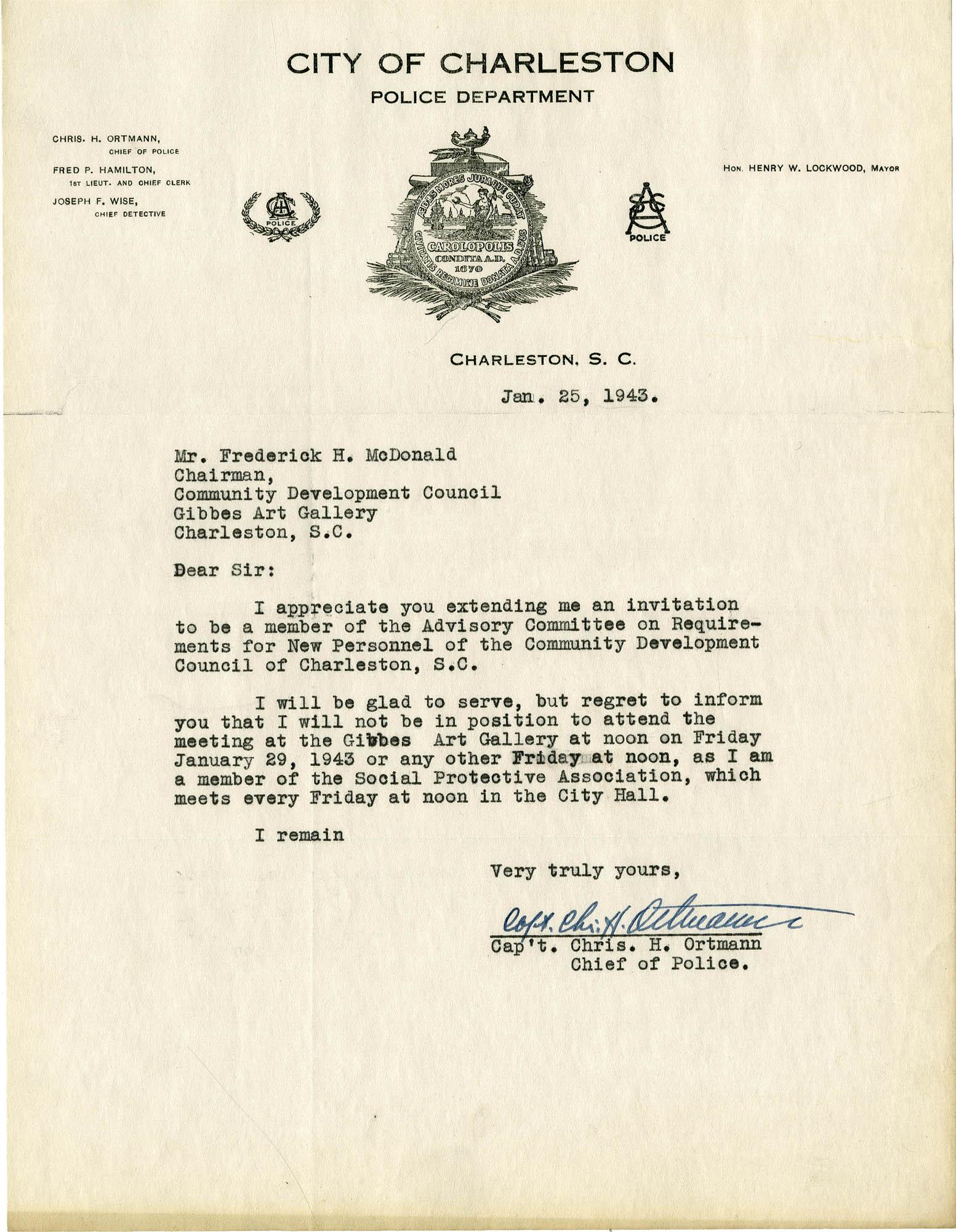 Folder 32: Ortmann Letter