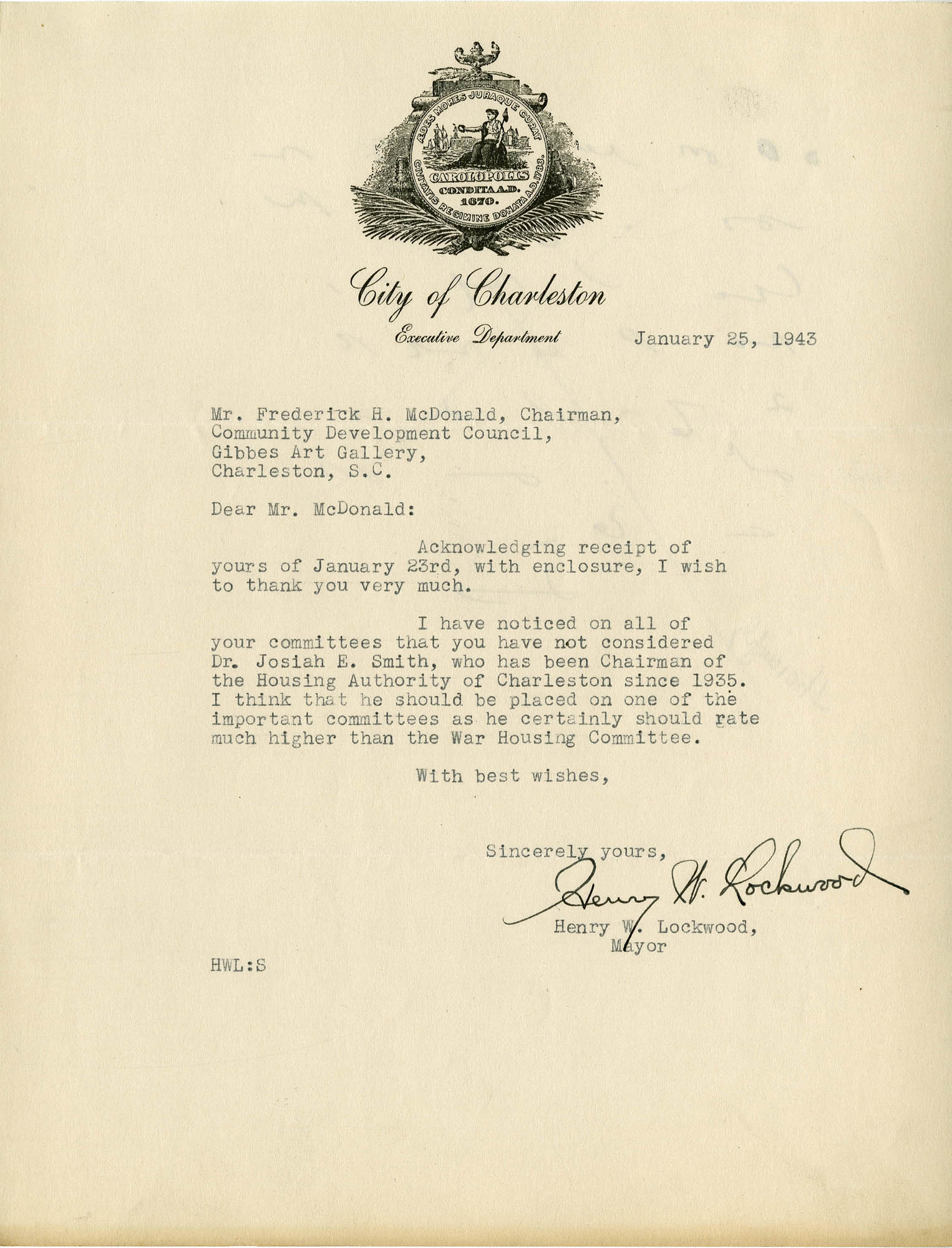 Folder 32: Lockwood Letter