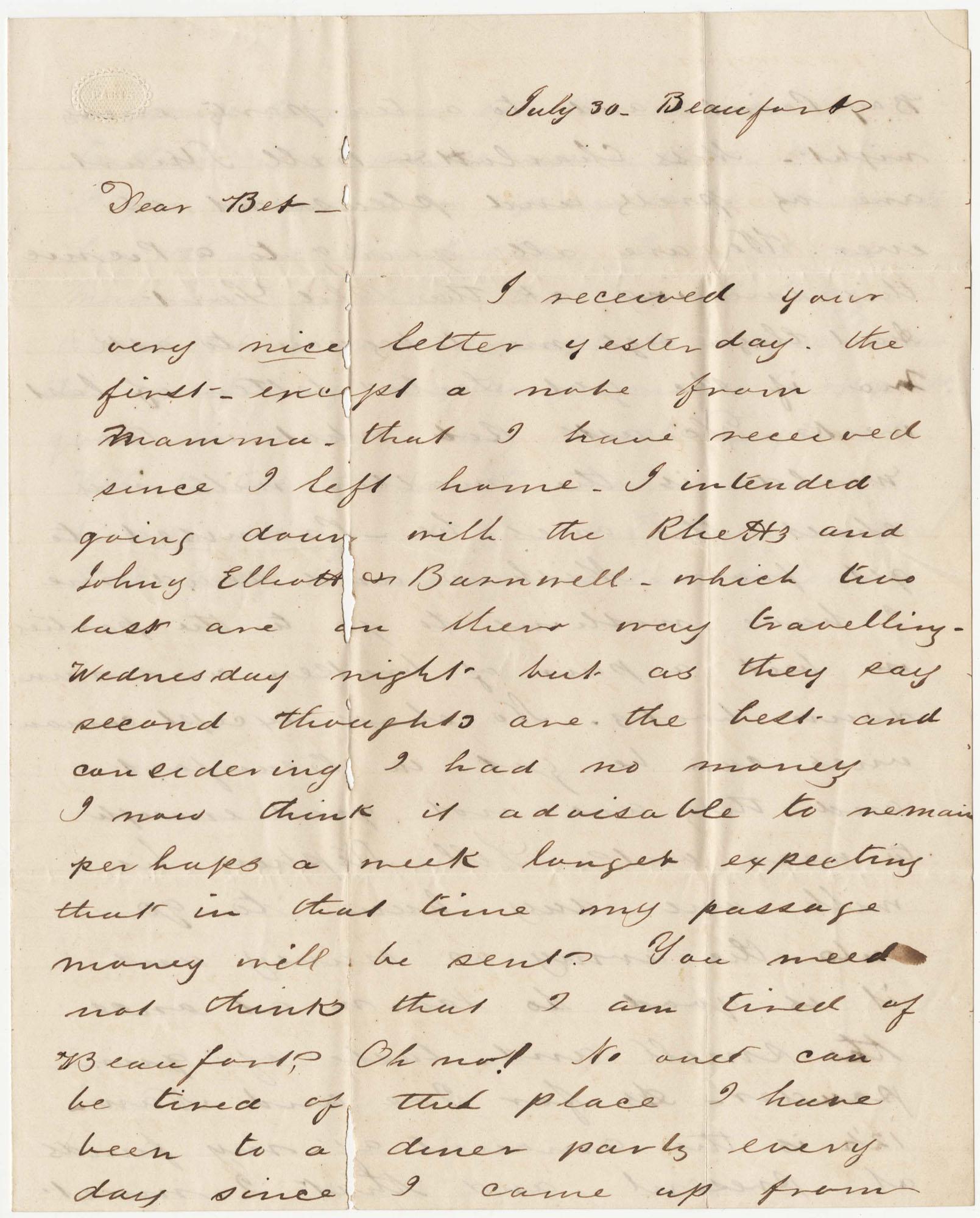 475.  Edward Barnwell to Elizabeth Barnwell -- n.d.