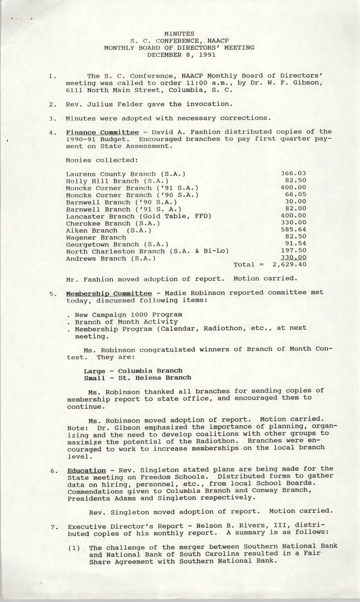 Minutes, South Carolina Conference of Branches of the NAACP, December 8, 1991