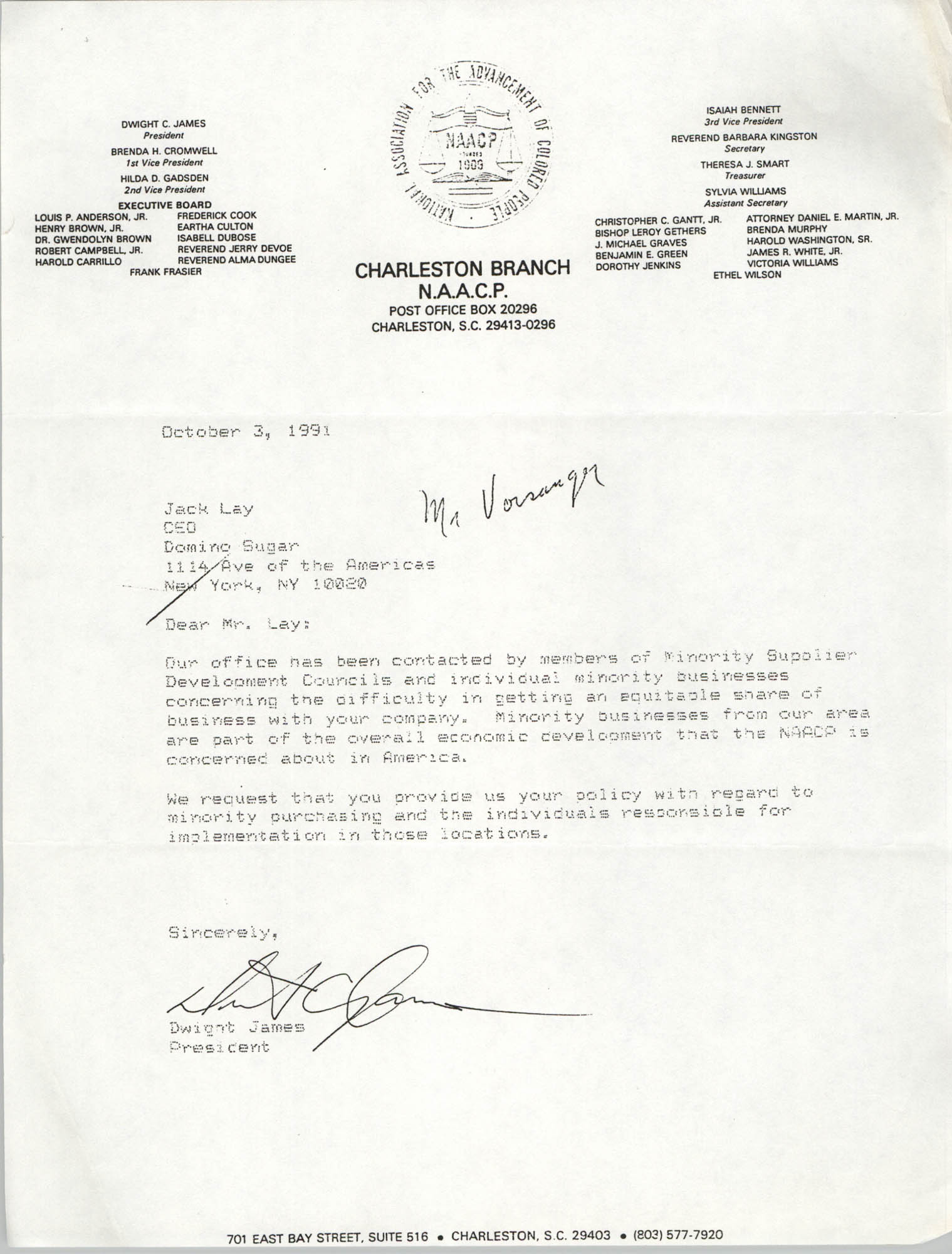 Charleston Branch of the NAACP Memorandum, October 3, 1991