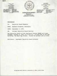 Charleston Branch of the NAACP Memorandum, September 3, 1991