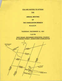 Invitation, Charleston Branch of the NAACP, December 12, 1991