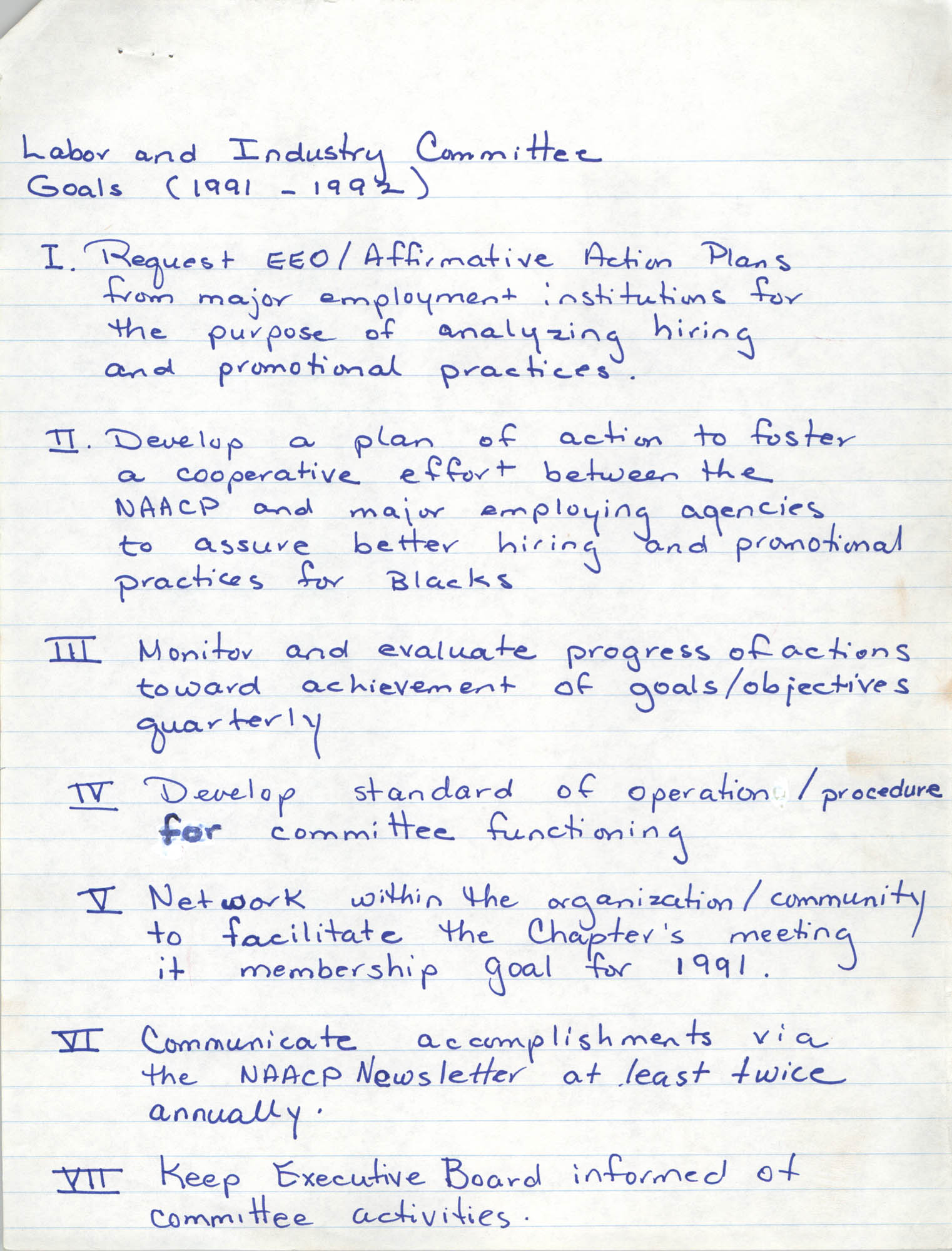 Charleston Branch of the NAACP Labor and Industry Committee Goals, 1991-1992