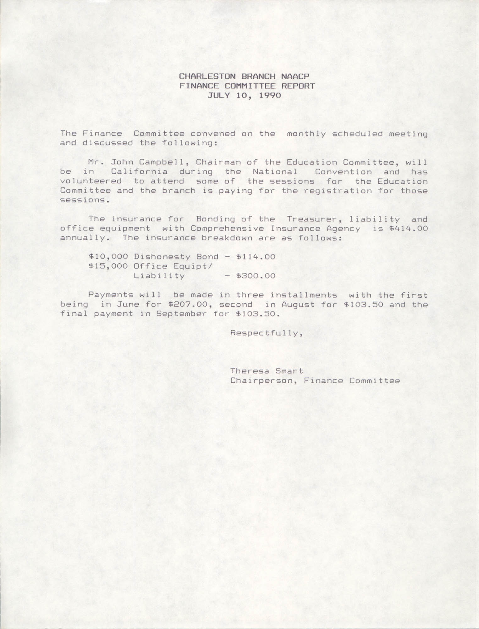 Charleston Branch of the NAACP Finance Committee Report, July 10, 1990