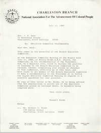 Charleston Branch of the NAACP Memorandum, July 12, 1985