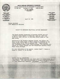 South Carolina Conference of Branches of the NAACP Press Release, April 18, 1986