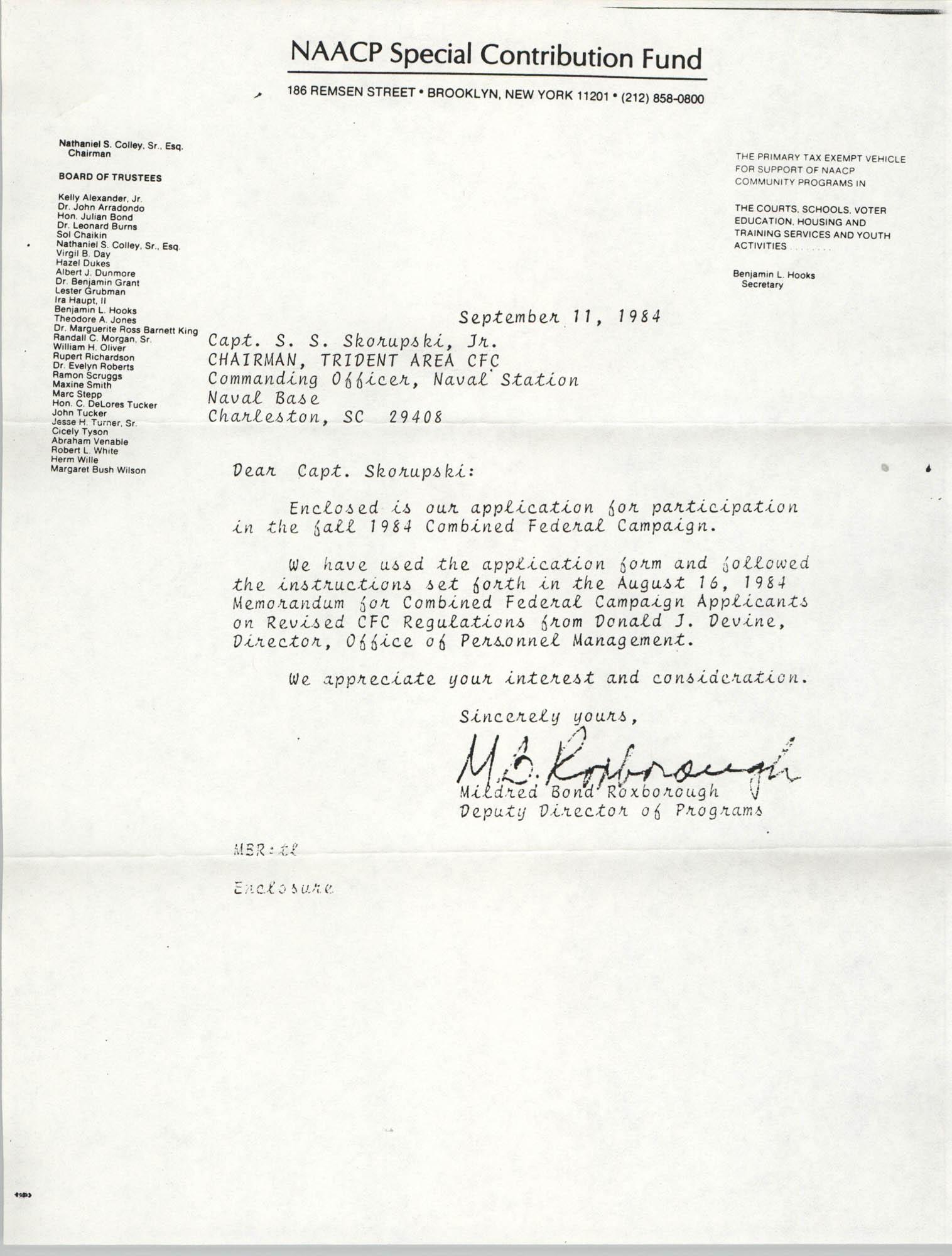 NAACP Special Contribution Fund Memorandum, September 11, 1982